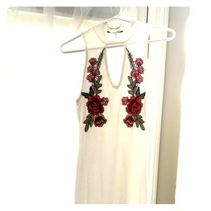 Tops - Key hole White Dress with Roses